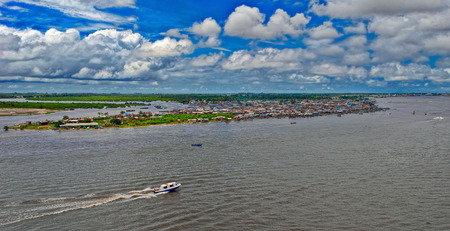 lagos: African town on the riverside. Lagos, Nigeria, Africa Stock Photo
