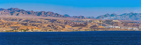 frontier: Panorama of oil refinery by frontier with Saudi Arabia, Aqaba, Jordan Stock Photo