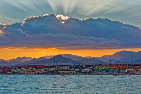 Sunset over Sinai mountains in Sharm el Sheikh, Egypt. Stock Photo