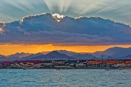sharm el sheikh: Sunset over Sinai mountains in Sharm el Sheikh, Egypt. Stock Photo