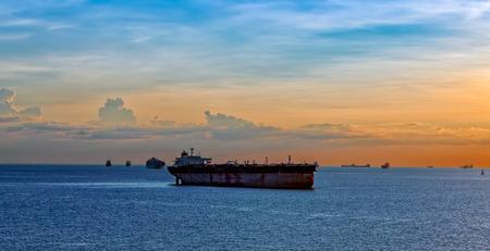 ballast: Oil supertanker in ballast anchored the Singapore Strait Stock Photo