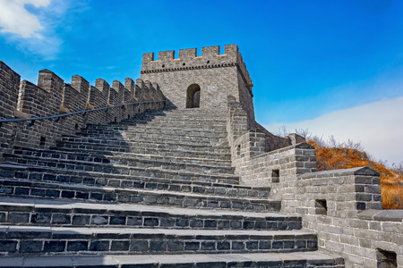 Close up of the ancient stone stairs on Great Wall at Nine Water Gates section of the Great Wall known as the Great Wall over Water. Jiumenkou Great Wall is located in Suizhong county in Huludao and is the eastern portion of the Jizhen Great Wal Stock Photo