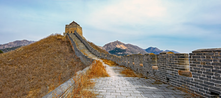 the great wall: Panorama of Great Wall at Nine Water Gates section of the Great Wall known as the Great Wall over Water.