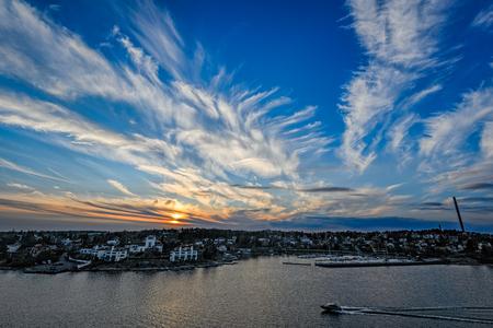 archipelago: Sunset over Stockholm archipelago. Sweden