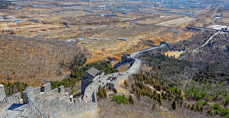 point of view: High point view to Shanhaiguan Pass (Zhendong Gate) at Great China Wall also known as the First Mountain of the Great Wall.