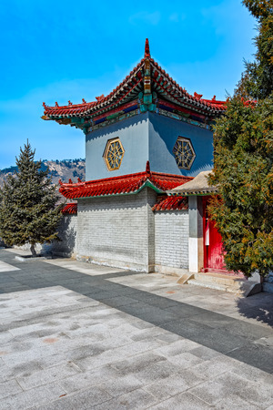 frontage: Ornate and decorative ancient chinese architecture pavilions on the Great Wall at Nine Water Gates section of the Great Wall known as the Great Wall over Water. Stock Photo