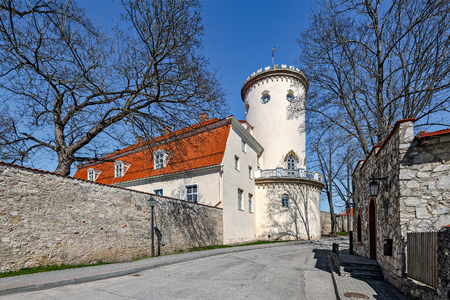 eclecticism: Street of medieval Cesis town with Cesis Manor or Cesis New Castle on the background