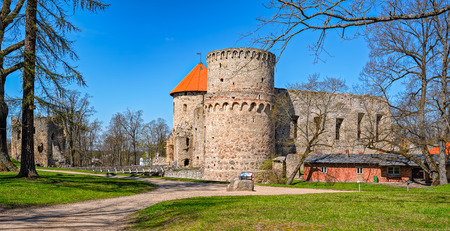 besiege: View of ruins of the beautiful castle in town of Cesis was a residence of the Livonian order (teutonic knights) in the middle ages, Latvia. Editorial