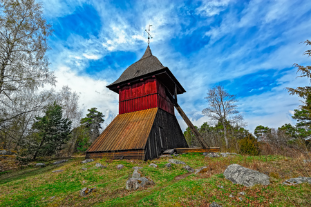 bell tower: View of the old church bell tower of Sigtuna, Sweden. Stock Photo