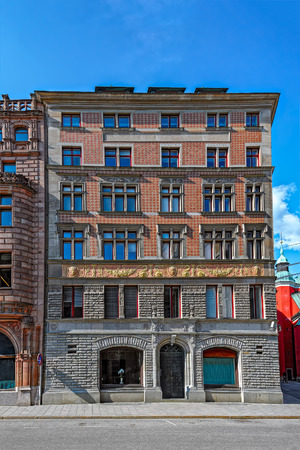 historic buildings: The front facade of one of the many beautiful old historic buildings that Stockholm in Sweden has to offer. Editorial