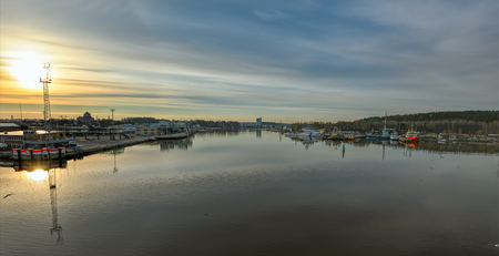 turku: Spring sunrise over the mouth of the River Aura in Turku, Finland