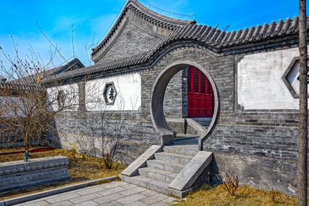 reconstructed: Round doorway in the reconstructed Old Town of Shanhaiguan, Hebei Province, China.