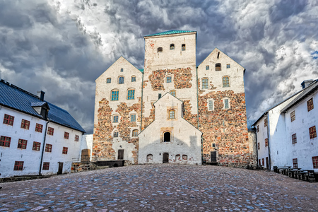 13th century: Turku Castle in Finland, a medieval castle from 13th century, inner courtyard view