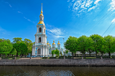 sobor: The Chapel and bell tower of Nikolsky marine cathedral in St. Petersburg, Russia Stock Photo