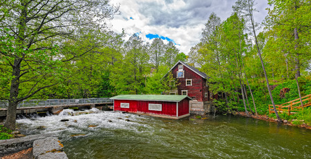 watermill: The Vaaksy Water Mill and Hydroelectric Power Station Museum in Asikkala, Finland. The mill which is now museum was common mill at first, then it was taxmill and finally it was duty mill. It was since abandoned for 30 years untill 1970-80s it was renovat