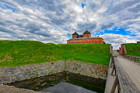 fortify: Medieval castle in the city of Hameenlinna, Finland at spring
