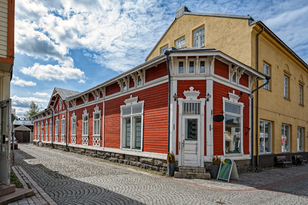 Wooden buildings, architecture, streets in Old Town in Rauma, one of the oldest harbours in Finland. Situated on the Gulf of Botnia. Stock Photo