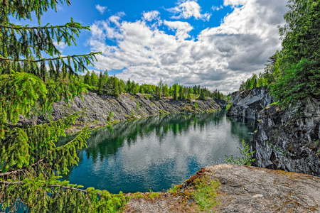 karelia: Marble quarry in Ruskeala, Republic of Karelia, Russia Stock Photo