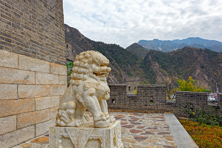 ancient pass: Ancient chinese stone lion, symbol of protection and power in Oriental Asia especially China, at the gate Huangyaguan Pass near Beijing, China Stock Photo