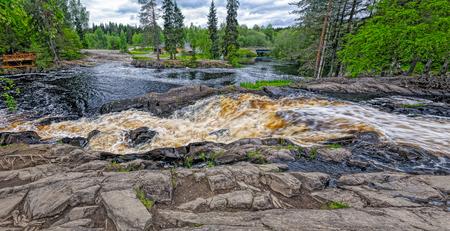 Waterfall and River Tokhmayoki (Ruskeala) in the Republic of Karelia, Russia Stock Photo