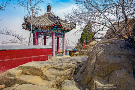 ancient pass: Zhenyi pavilion with hexagonal piramid roof in Temple of Meng Jiangnu, also known as Vestal Virgin Temple, at Shanhaiguan, near Qinhuangdao, Hebei province