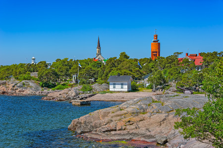 Rocky coast in Hanko, southernmost district in continent Finland Stock Photo