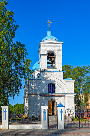 leningrad: Belltower of orthodox Cathedral of the Nativity of the Blessed Virgin Mary. Priozersk, Leningrad region, Russia