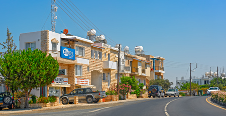 polis: POLIS, CYPRUS - July 29, 2016: Typical modern apartment houses in Polis, Cyprus