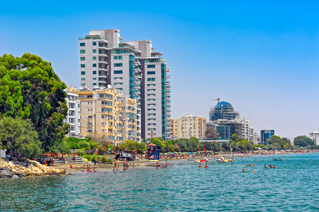 LIMASSOL, CYPRUS - JULY 31, 2016: Coastline and beach view in the center on Limassol, Cyprus Editorial