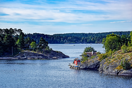 dwellings: Dwellings islands on Stockholm archipelago in Baltic sea at sunny morning