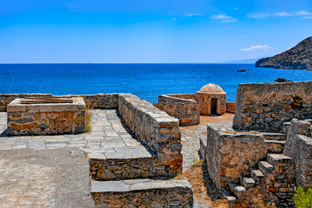 lepra: Ruins in the abandoned leper colony on Spinalonga island (also known as Kalydon), Greece.