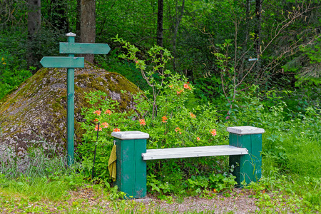 hand towel: Park wooden bench with hand towel and pointers in Mustila Arboretum, Finland