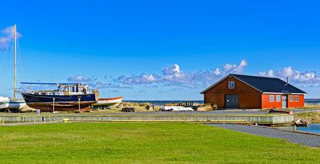 Small Harbor with some boats in Soru, deepest and narrowest area in the Soela Strait. Soru, Hiiumaa, Estonia