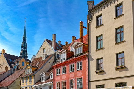 The front facade of one of the many beautiful old historic buildings that Riga in Latvia has to offer. Stock Photo