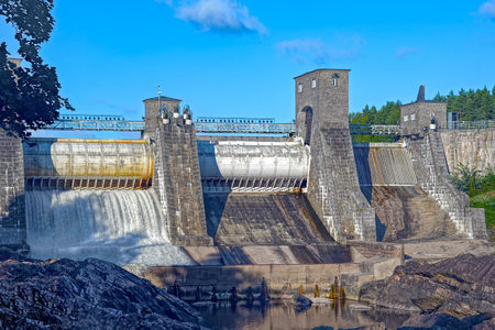 hydroelectric power station: Beginning of spillway on hydroelectric power station dam in Imatra - Imatrankoski, Finland. Stock Photo