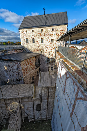 sund: Inner yard of Kastelholm castle on Aland islands in Finland. Kastelholm Castle built in the 14th century is a Swedish-built medieval castle located in Sund, Aland, Finland Editorial