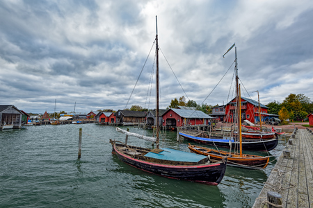 Assorted boats in restored Maritime Quarter Sjokvarteret of the Slemmern Eastern Harbour in Mariehamn on the Aland island archipelago, Finland
