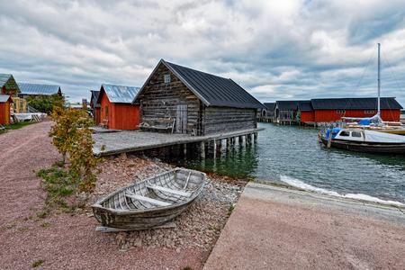 Assorted boats in restored Maritime Quarter Sjokvarteret of the Slemmern Eastern Harbour in Mariehamn on the Aland island archipelago, Finland