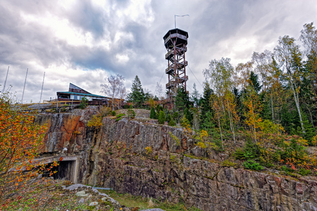 Sightseeing tower at Uffe pa berget - a famous cafe at Aland over tunnel at autumn. Aland islands, Finland