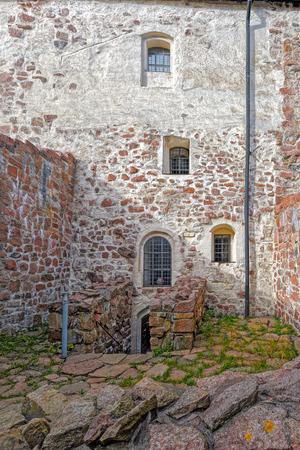 sund: Inner yard of Kastelholm medieval castle dating to the end of the 14th century, Sund, Aland archipelago, Finland Editorial
