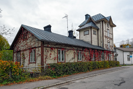 Autumn overcast day view of old wooden residentual building in Loviisa, Finland.