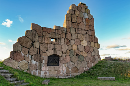 sund: Ruins of the fortress Bomarsund (1832-1854). Remains of fortress destroed during the Crimean War in the field