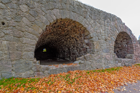 Ruins of the cannon casemates of the Fort Ungern Bastion Ungern, one of two bastions are located on the sides of the old path on which in the old times Swedish kings traveled to their possessions. Loviisa, Finland Stock Photo