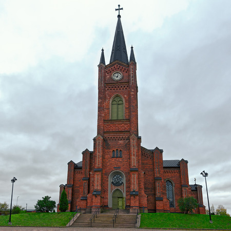 Old Lutheran Neo-Gothic style roadside church in the town of Loviisa, Finland Stock Photo