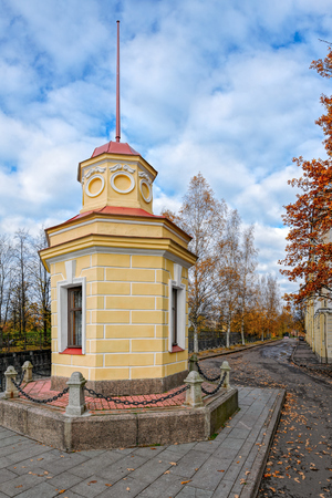 Building of tide gauge (also known as mareograph),  automatic recording device which records the changes in water level on the banks of the Obvodny (Bypass) channel. Kronstadt, Kotlin island, Saint-Petersburg, Russia