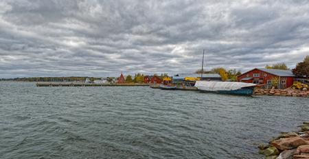 Embankment of restored Maritime Quarter Sjokvarteret of the Slemmern Eastern Harbour in Mariehamn on the Aland island archipelago, Finland Stock Photo