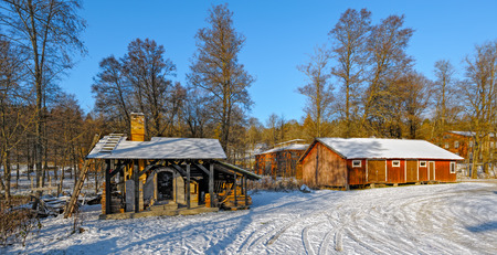 ironworks: Snow covered buildings of the former Fiskars Ironworks Village in Raseborg (formerly Pohja), Finland