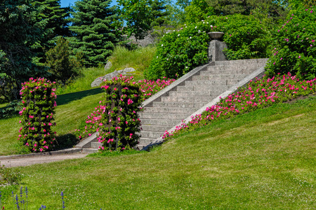 Vertical flowerbed in Hanko city park, Finland