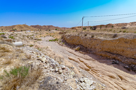 gully: Soil erosion caused by heavy rainstorm in Atlas mountains, Tunisia