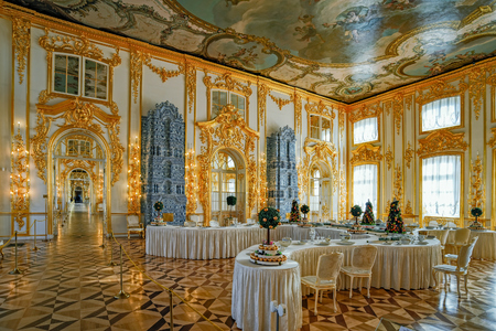 Sweet table in ornate interior of Catherine Palace banquet room in Tsarskoe Selo (Pushkin), St. Petersburg, Russia Editorial
